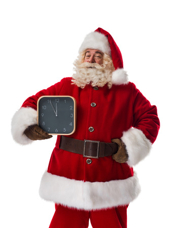 waiting glance: Santa Claus holding watches Closeup Portrait. Isolated on White Background