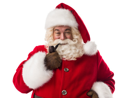 senior smoking: Santa Claus smoking pipe Closeup Portrait. Isolated on White Background Stock Photo
