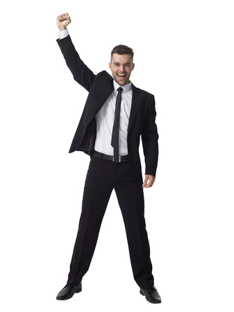 Businessman celebrating success Full Length Portrait isolated on White Background
