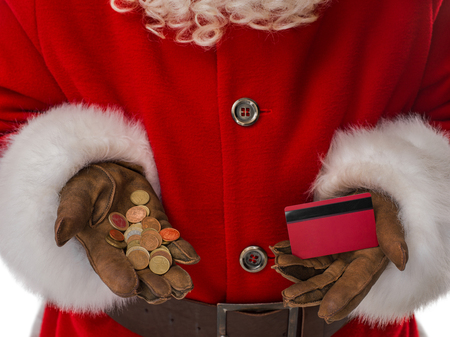christmas budget: Santa Claus holding cash and bank card Closeup Portrait Isolated on White Background