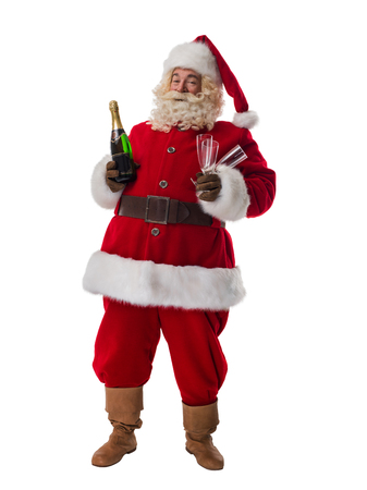 Drinking wine: Santa Claus drinking champagne Full Length Portrait isolated on White Background