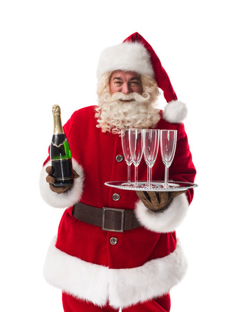 Drinking wine: Santa Claus holding champagne Closeup Portrait Isolated on White Background