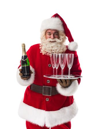 sektglas: Weihnachtsmann-Holding Champagner Closeup Portrait auf weißem Hintergrund isoliert