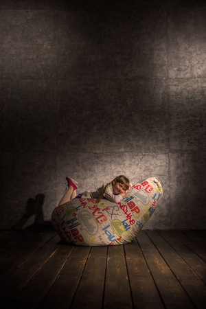 beanbag: Girl Resting on Beanbag at home