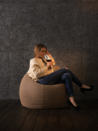 beanbag: Girl Drinking Wine on Beanbag at home