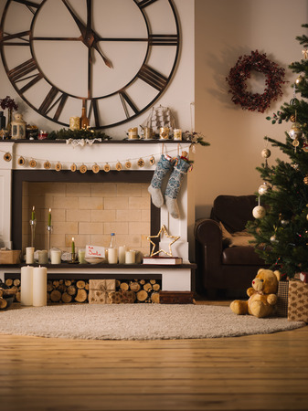 nobody real: Christmas Home Interior with Nobody Stock Photo