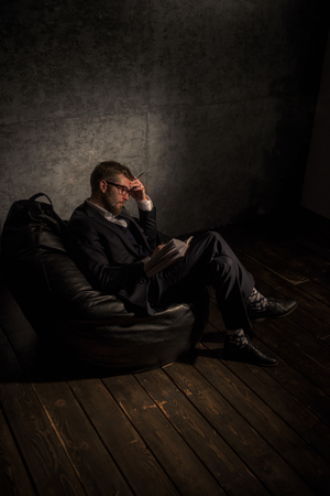 beanbag: Planning Business man Portrait. Sitting on Beanbag at Office or Home