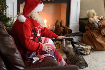 Santa Claus Warming Feeding his Cat at Home Standard-Bild