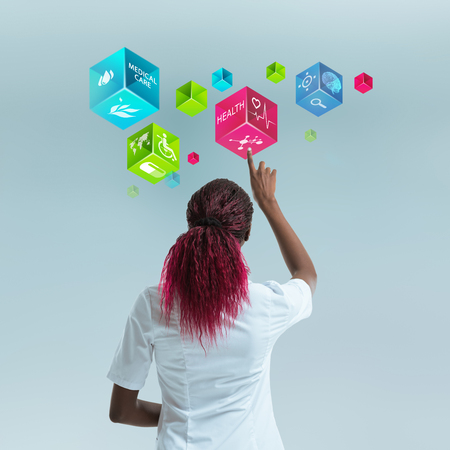 Medicine doctor working with modern computer interface as medical concept Standard-Bild