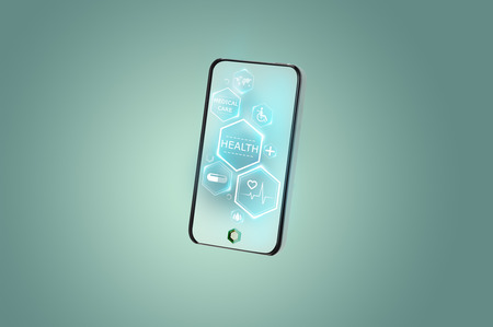 Future smartphone with health tracking app concept Imagens