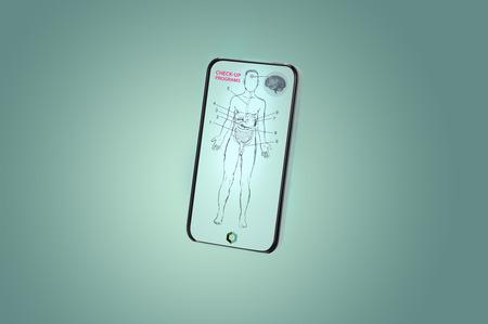 Toekomstige smartphone met de gezondheid van het bijhouden van app-concept