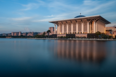 steel building: Iron Mosque in Putrajaya, Malaysia, captured in warm sunlight just before sunset Stock Photo