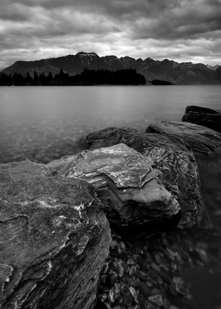 Rock in a lake in Queenstown, New Zealand