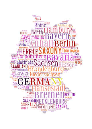 larger: Germany map and words cloud with larger cities Stock Photo