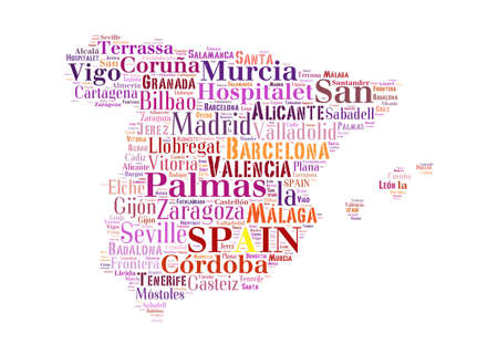 larger: Spain map and words cloud with larger cities Stock Photo