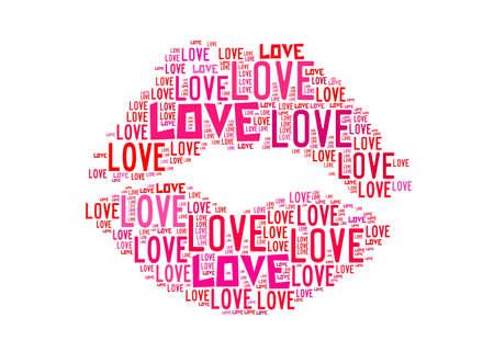 baiser amoureux: Embrassez Symbole pour les graphiques et le concept de texte d'amour arrangement sur fond blanc