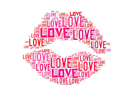 Kiss Symbol For Love Text Graphics And Arrangement Concept On