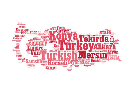 konya: Turkey map and words cloud with larger cities