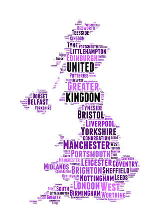 uk: United Kingdom map and words cloud with larger cities Stock Photo