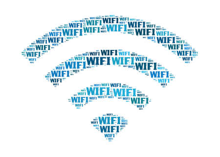 wireless connection: wifi-text graphic and arrangement concept