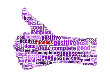 Illustration of the thumbs up symbol, which is composed of words on positive word. Isolated on white. Stock Illustration - 12324507
