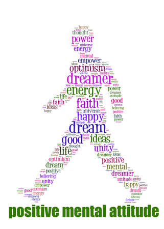 otimismo: PMA Word Cloud Concept great terms such as Positive Mental Attitude, empower, faith, dream, brain on man walking