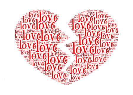 wording: love text in broken love symbol-text graphics and arrangement concept Stock Photo