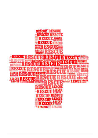 life preserver: rescue text on cross symbol  graphic and arrangement concept Stock Photo