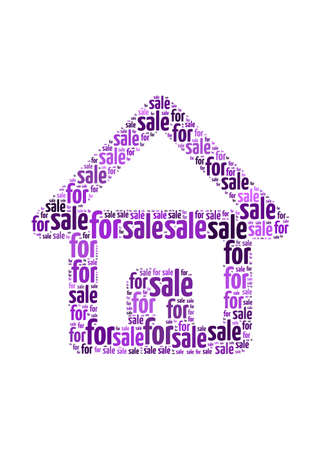 for sale text on house symbol  graphic and arrangement concept Stock Photo - 12324422