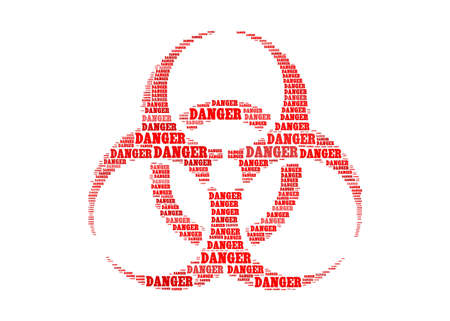 danger of radiation: danger text on biohazard symbol graphic and arrangement concept