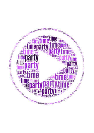 party time text on play symbol graphic and arrangement concept photo