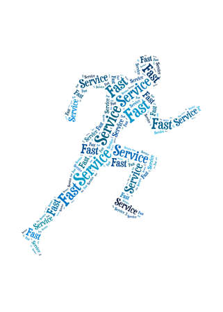 Fast Service words on man running symbol, symbolizing speedy customer support in a business photo