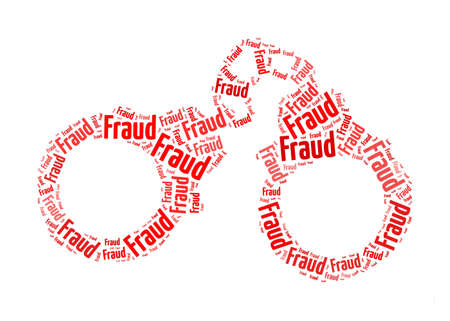 fraud: fraud text on handcuff graphic and arrangement concept Stock Photo