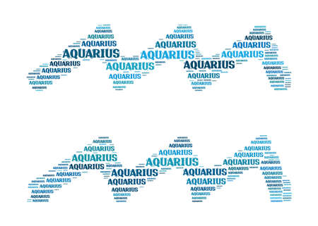 textcloud: Text cloud: silhouette of aquarius Stock Photo