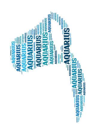 textcloud: Text cloud: symbol of aquarius Stock Photo