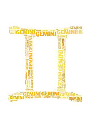 Text cloud: silhouette of gemini photo