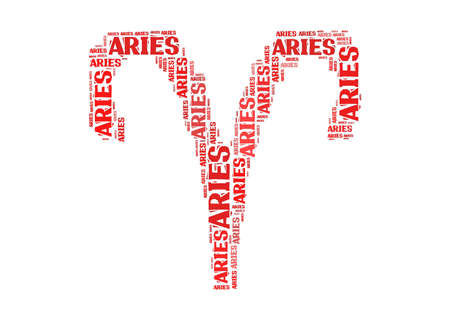 aires: Text cloud: silhouette of aries