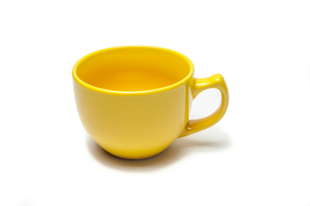 yellow cup isolated white background Stock Photo