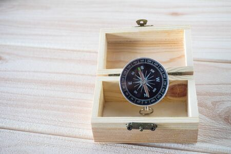 compass with small wooden box