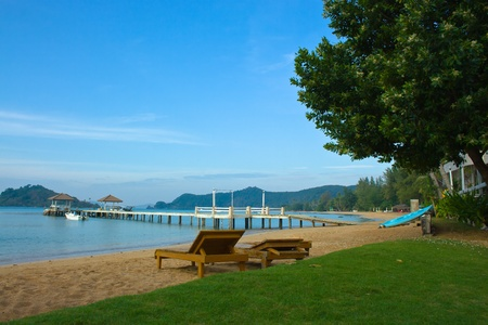 The beautiful Pier and Sand Beach  Province Trat  Koh Mak island Stock Photo - 12817819