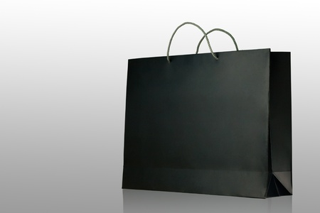 Black glaze paper shopping bag on white background, Isolated