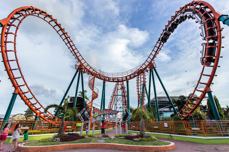 play the old park: roller coaster at fun park  Siam Park, Thailand