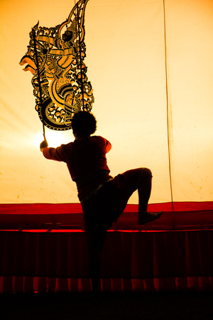 Grand shadow play is one of art kinds in Thailand  photo
