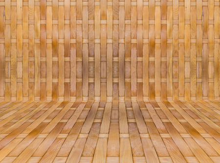 build in: texture background of Yellow Bamboo stick cross build in room Stock Photo