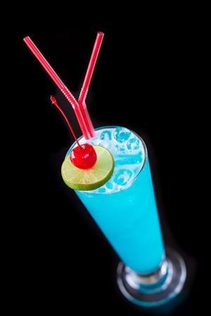 Blue hawaii cocktail isolated on black Stock Photo