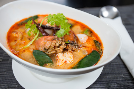 gung: Tom Yum Kung-Thai spicy and sour soup It has been popularised around the world  Stock Photo