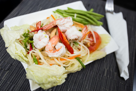 tam: Som Tam Goong  Papaya Salad with Shrimp  Stock Photo