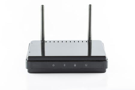 access point: Black Access point router box isolated on white background Stock Photo