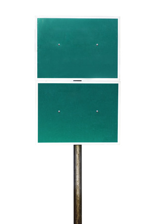 Blank Green Road Sign Isolated on white background photo