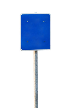 Blank Blue Road Sign Isolated on white background photo